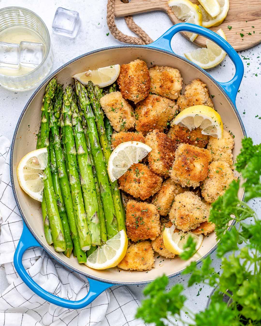 Garlic Butter Chicken Bites With Lemon Asparagus-29