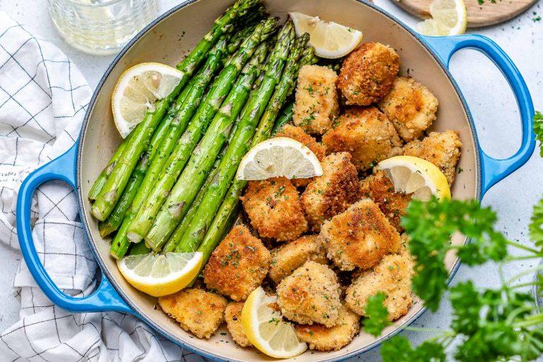 Garlic Butter Chicken Bites With Lemon Asparagus-33