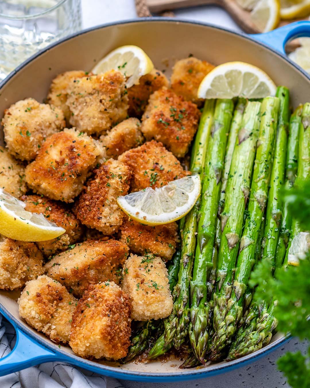 Bouchées de poulet au beurre à l'ail et asperges au citron-37