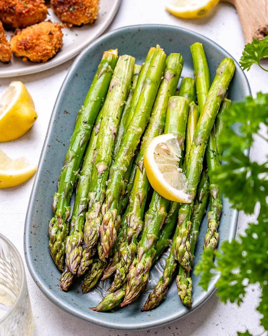 Garlic Butter Chicken Bites With Lemon Asparagus-49