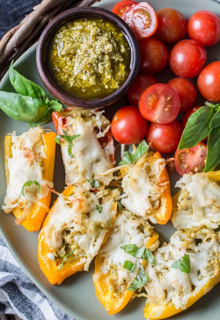 Keto Pesto Chicken Stuffed Sweet Peppers - Best keto dinner ideas