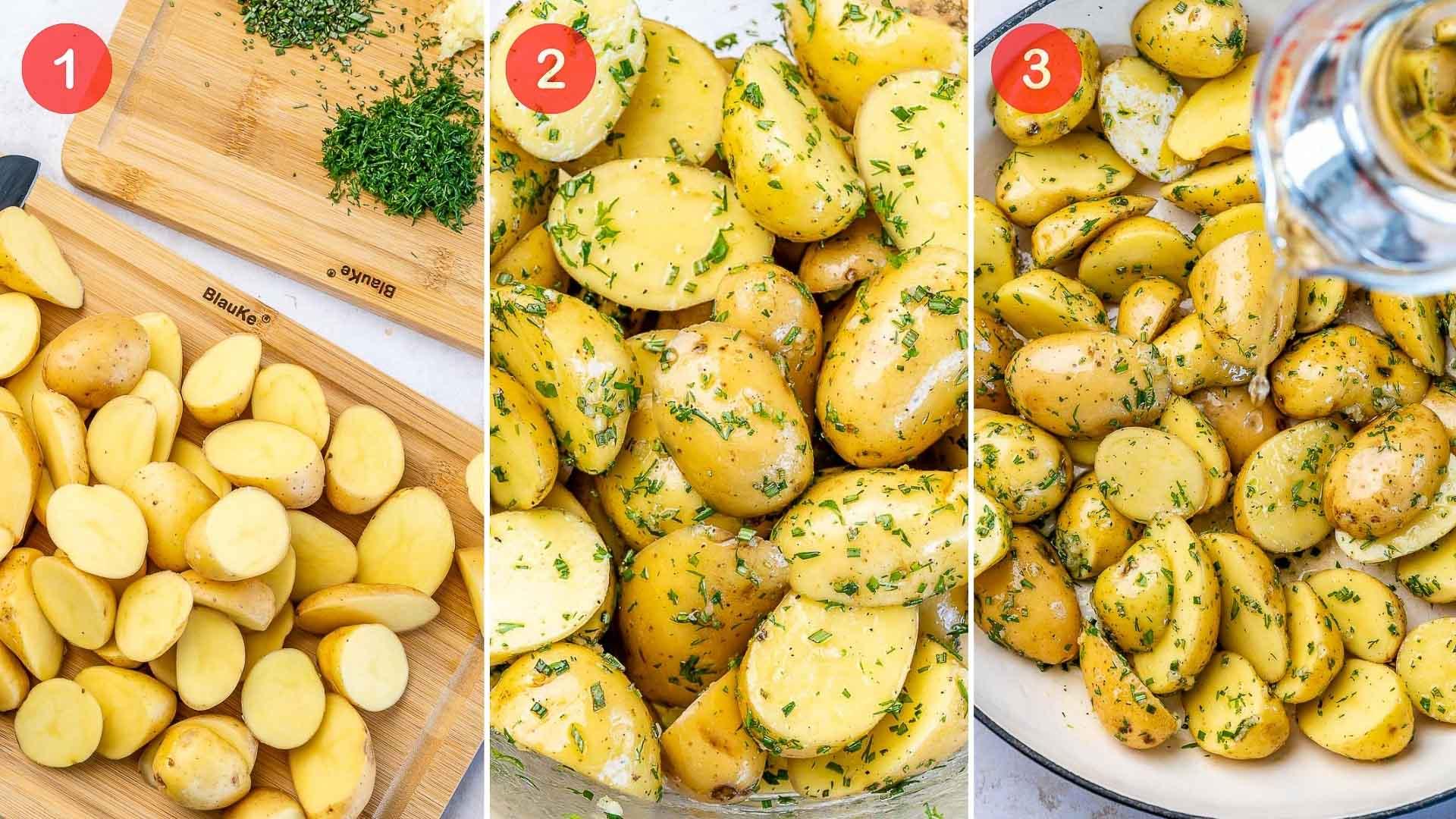 procesul de preparare a cartofilor noi, dupa ce au fost taiati si urmeaza sa fie gatiti