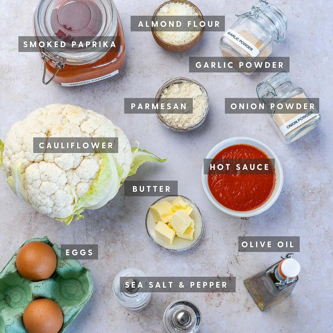 ingredients for keto baked cauliflower wings in small bowls