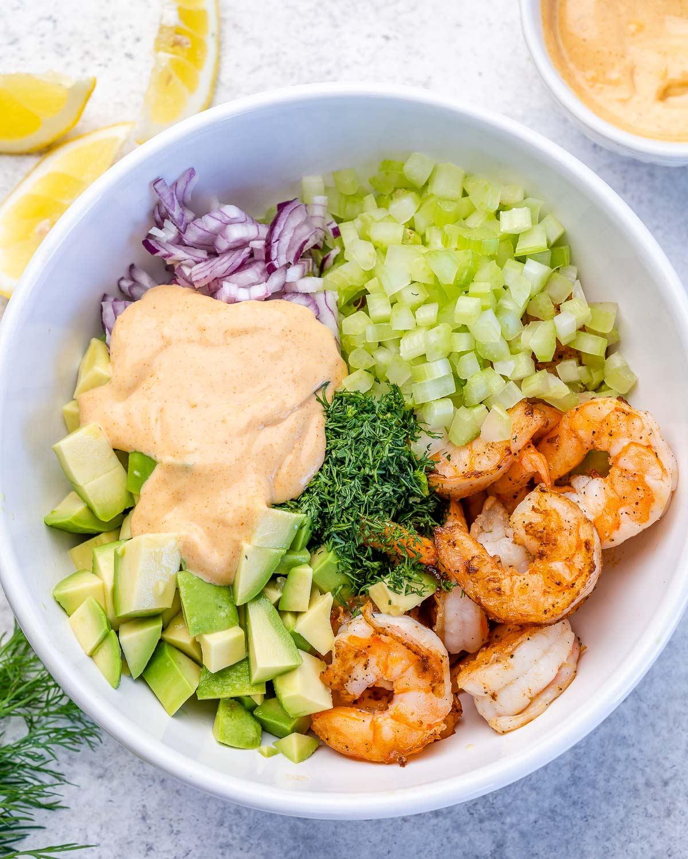 unmixed keto shrimp and avocado salad in a bowl