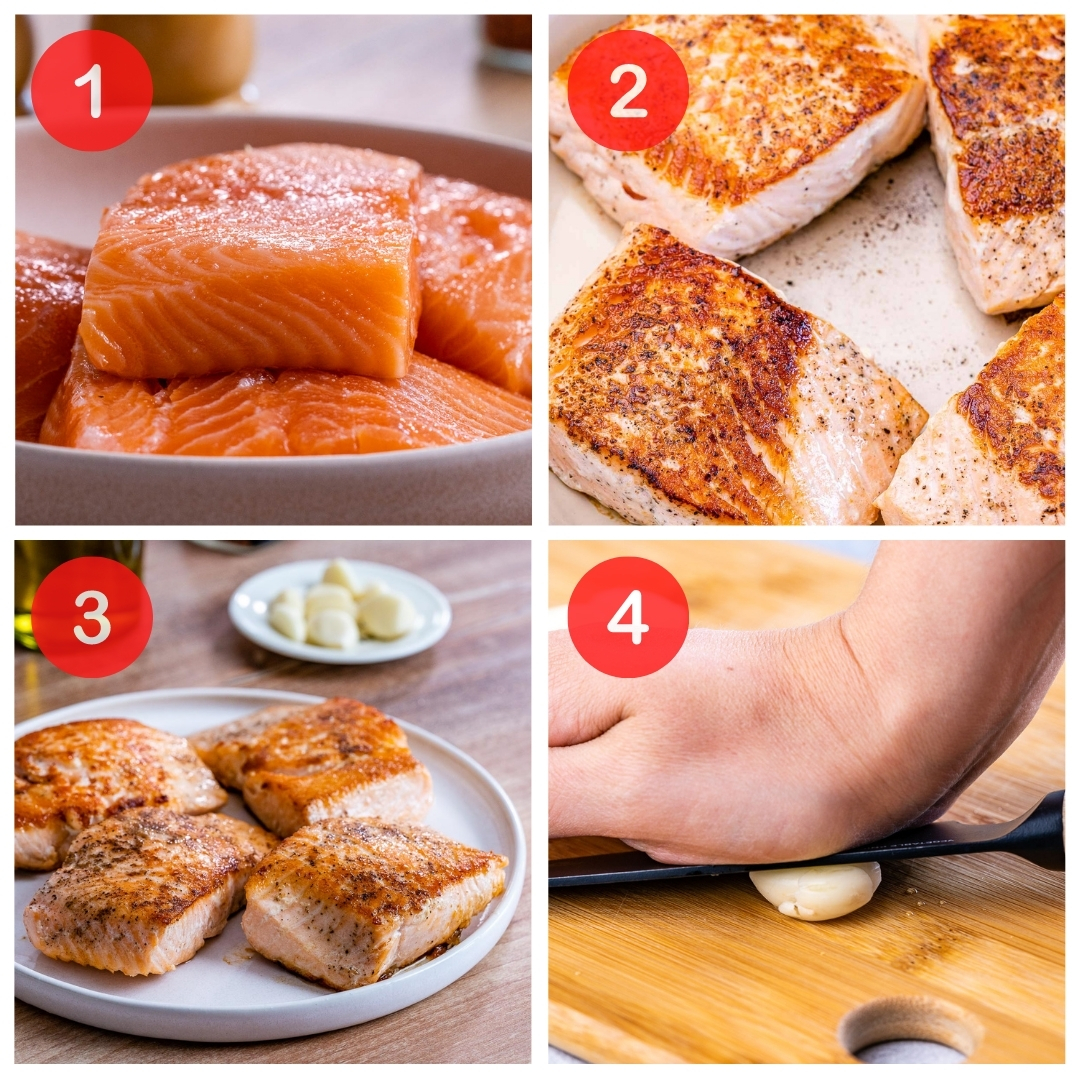 collage of the first four steps to make this easy keto salmon recipe