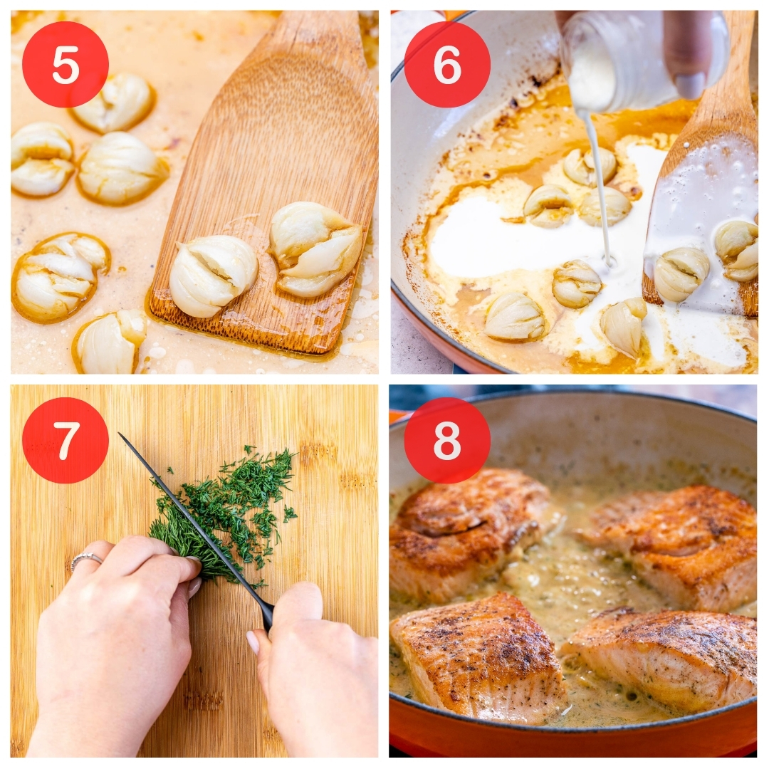 collage of the next 4 steps needed to make the low carb salmon recipe