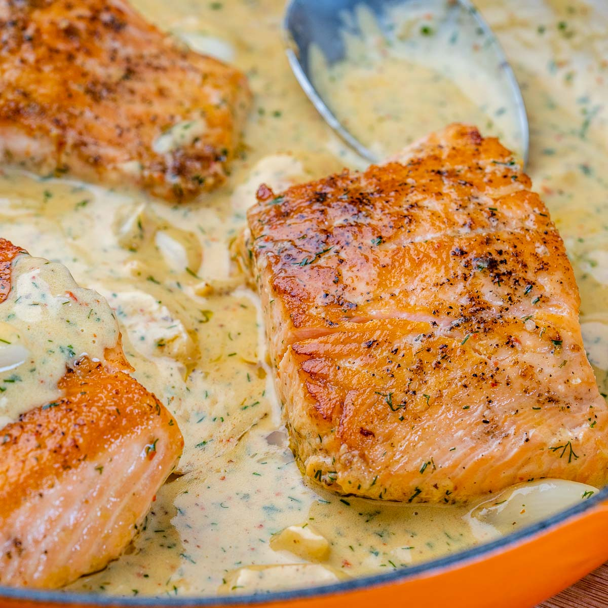 cooked salmon in creamy sauce