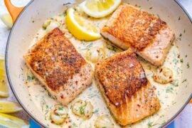 pan-seared salmon in cream sauce